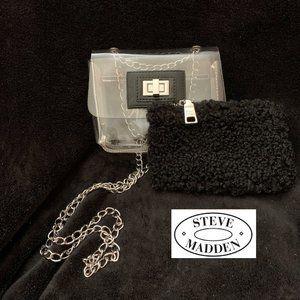 STEVE MADDEN LITTLE CLEAR BAG WITH BLACK INSERT